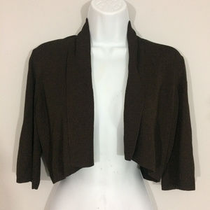 Ann Taylor Womens S Brown Cropped 3/4 Sleeve Top